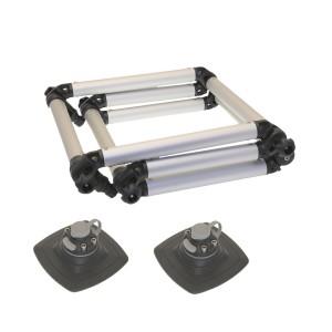 FLp032 (Fl032+FMp225) Лестница складная из алюминиевой трубы Ø 32 мм с набором для установки на надувной борт (черный, серый)
