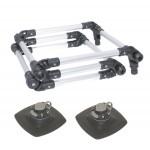 FLp022 (Fl022+FMp225) Лестница складная из алюминиевой трубы Ø 22 мм с набором для установки на надувной борт (черный, серый)