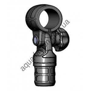 TFp032 Пластиковое поворотно-наклонное соединение с хомутом для труб  Ø32мм (серый)
